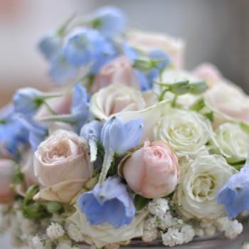 Brautstrauß rosa hellblau Knuddelstube romantisch Rosen Schleierkraut